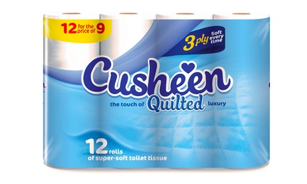 60 or 120 Rolls of Cusheen Quilted Luxury White Toilet Tissues from £12.98