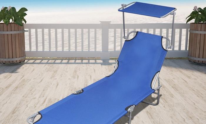Lettini Da Spiaggia Alluminio.Lettino Da Spiaggia Con Tettuccio Groupon Goods