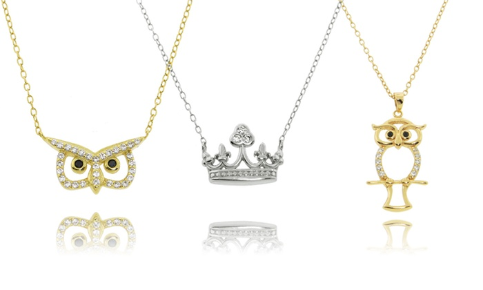 Sterling Silver and Cubic-Zirconia Crown or Owl Pendants: Sterling Silver and Crown or Owl Pendant. Multiple Styles Available from $14.99–$16.99. Free Shipping and Returns.