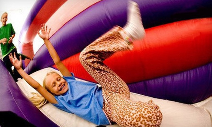 BounceU - Multiple Locations: Two Open Bounces, One-Day Winter Break Art or Lego Camp, or a Glow-in-the-Dark Party at BounceU (Up to 53% Off)