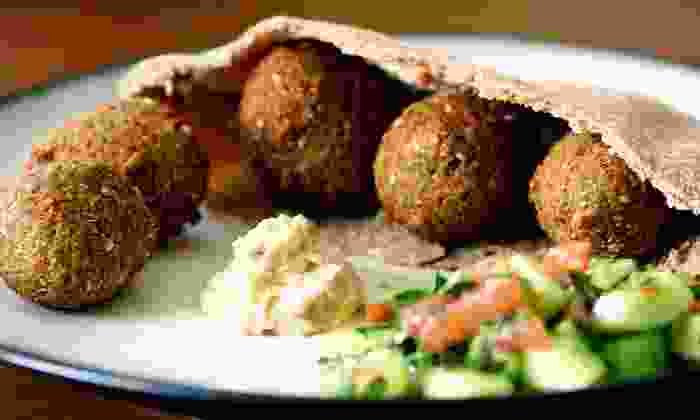 Mr. Souvla - Lomita: Falafel Sandwiches and Fountain Drinks for Two or Four at Mr. Souvla (44% Off)