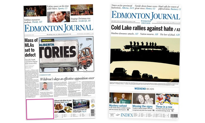 """Edmonton Journal: Four- or Six-Month Subscription with Digital Access and Print Delivery from """"Edmonton Journal"""" (Up to 38% Off)"""