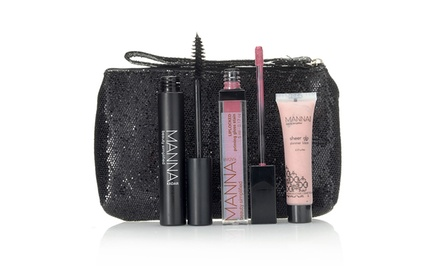 Manna Kadar Cosmetics Discovery Kit with Mascara, Shimmer Lotion, Priming Gloss Stain, and Wristlet