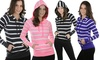 Women's Striped Drawstring Hoodie: Women's Striped Drawstring Hoodie