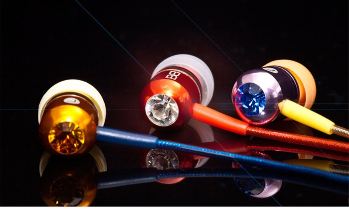 BassBuds Earbuds Made With Swarovski Elements: $19 for BassBuds Earbuds with a Hands-Free Microphone ($85 List Price). 12 Colors Available. Free Shipping.