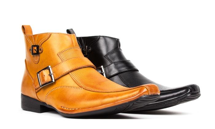 Bonafini Men's Dress Boots with Side Zipper
