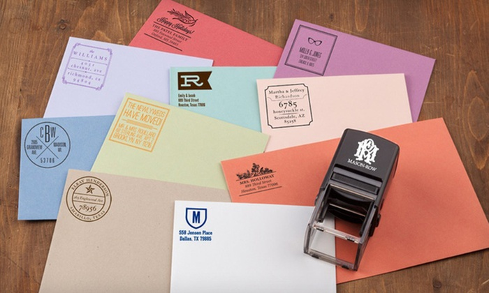 Personalized Stampers from Mason Row: Self-Inking Stamper with Personalized Designs from Mason Row. Multiple Options Available from $24.99–$39.99.