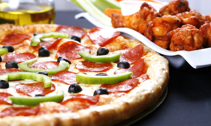 Buffalo Brothers Pizza & Wing Company - Wake Forest: Pizza, Wings, and Burgers at Buffalo Brothers Pizza & Wing Company (Up to 50%Off). Two Options Available.