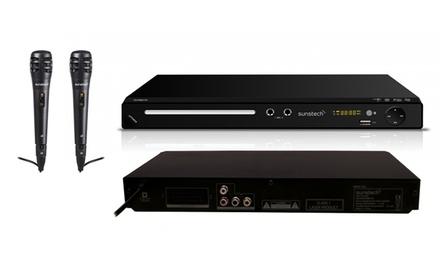 Reproductor DVD Sunstech con Karaoke DVPMK 760 y 2 micrófonos (envío gratuito)