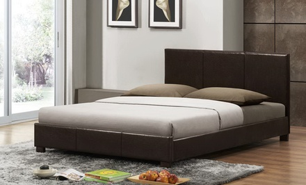 Modern Upholstered Platform Bed; Full or Queen Size from $199.99–$239.99