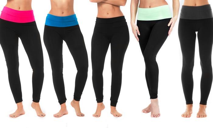 Women S Foldover Waistband Yoga Leggings 5 Pack Groupon