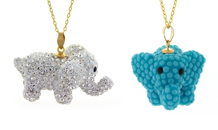 Elephant Charm Pendants in 14K Gold with Swarovski Elements