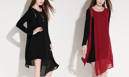 Loose LongSleeved Chiffon Dress: One $25 or Two $45
