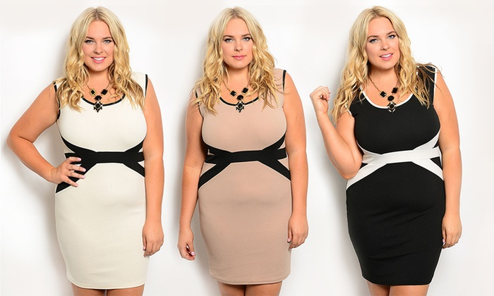 Womens Plus Size Slimming Contrast Cocktail Dress Groupon