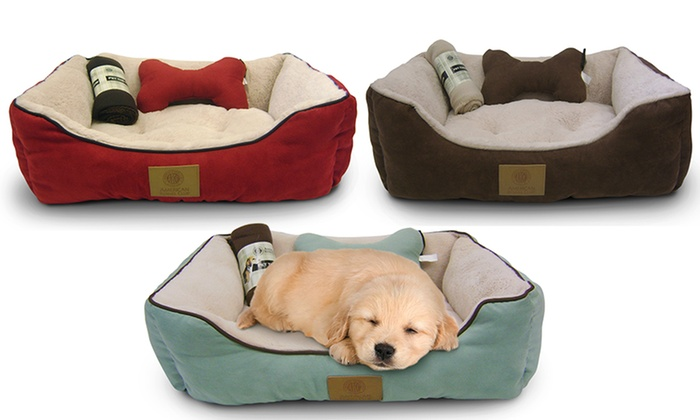 AKC Pet Bed Set With Pillow And Blanket ...