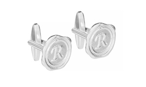 NameJewelrySpot: Wax Seal Initial Cufflinks in Sterling Silver from NameJewelrySpot.com