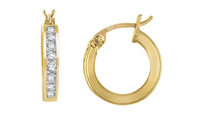 Children S 14k Yellow Gold Swarovski Crystal Hoop Earrings