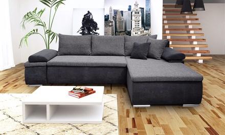 bobochic ecksofa helly mit bettfunktion und chaiselounge in hellgrau oder dunkelgrau. Black Bedroom Furniture Sets. Home Design Ideas