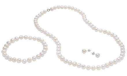 Nugget Freshwater Pearl Earrings, Neklace, and Bracelet Set in Sterling Silver