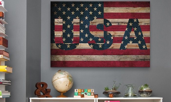 """40""""x26"""" Gallery-Wrapped Statement Flag Canvases: 40""""x26"""" Gallery-Wrapped Statement Flag Canvases. Multiple Flags Available. Free Shipping and Returns."""