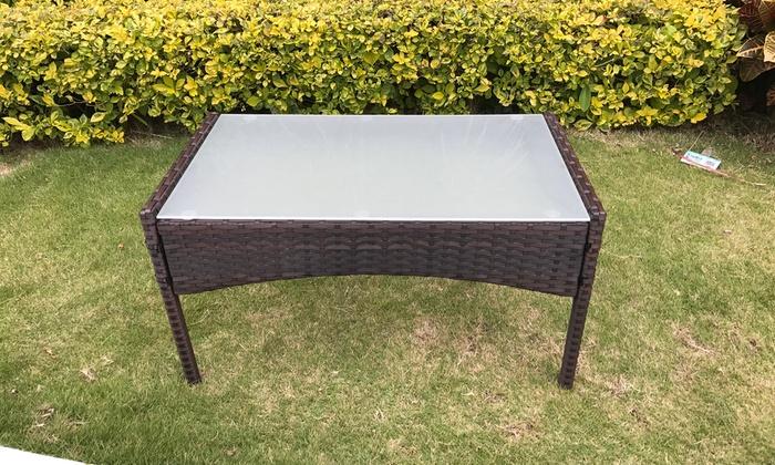 Four piece rattan garden set groupon for Garden furniture set deals