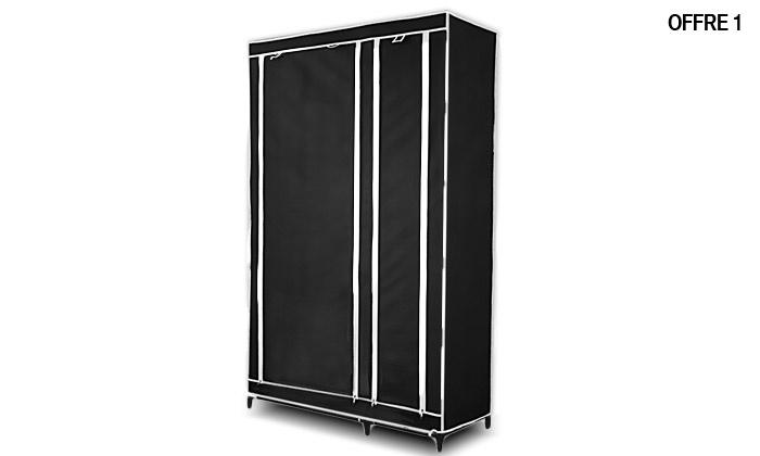 1 2 ou 4 armoires penderie en tissu groupon shopping. Black Bedroom Furniture Sets. Home Design Ideas