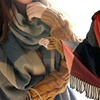Oversized Wrap Checked Scarf
