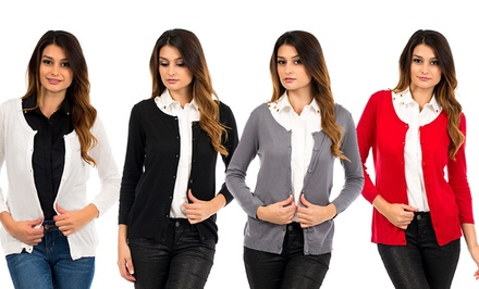4-Pack of Women's 100% Cotton Button-Down Cardigans