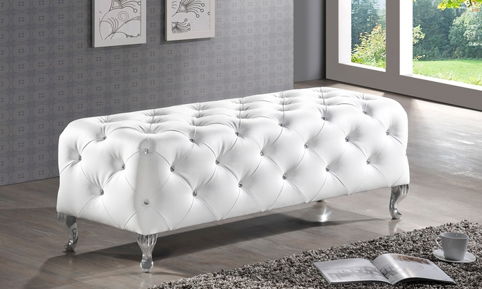 Faux Crystal Tufted Benches Groupon Goods