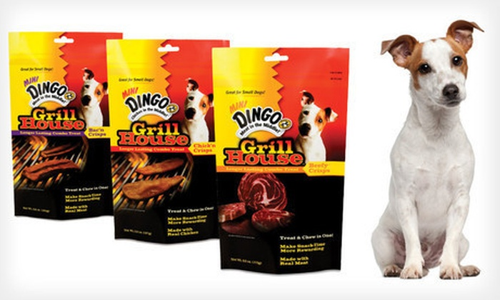 Dingo Grill House Dog-Treats Bundle: $8 for a Dingo Grill House Dog-Treats Bundle with Bac'n, Chick'n, and Beefy Crisps ($28.47 List Price)