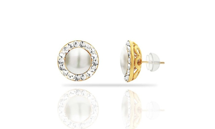 Freshwater Pearl Studs With Earring Jacket 2 Piece
