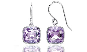 3.50 Ctw Genuine Cushion Cut Amethyst Drop Earrings In Sterling Silver