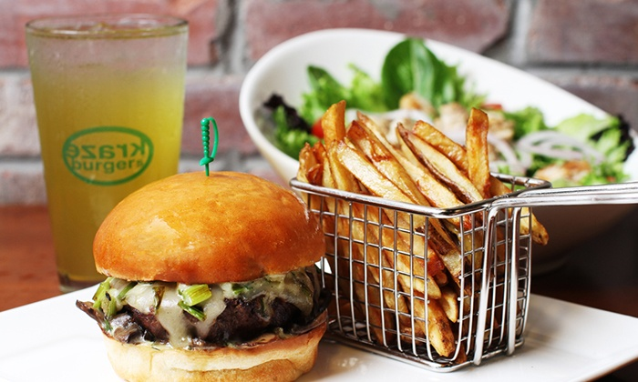 Kraze Burger - Tysons Galleria: Burgers and Fries for Two or Four, or One Lettuce Burger and Fries at Kraze Burger (Up to 50% Off)