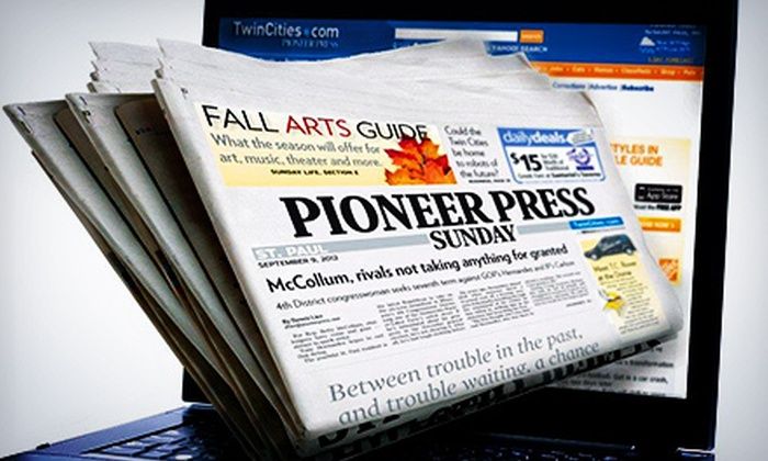 """St. Paul Pioneer Press - Minneapolis / St Paul: 52-Week Subscription to the Sunday Print or Seven-Day Digital Edition of """"St. Paul Pioneer Press"""" (Up to 81% Off)"""