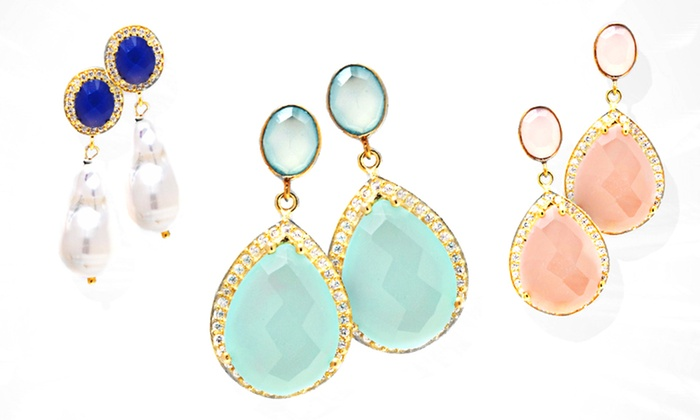 Gemstone or Pearl Drop Earrings with Crystal Accents: Gemstone or Pearl Drop Earrings with Crystal Accents. Assorted Styles and Colors Available. Free Returns.