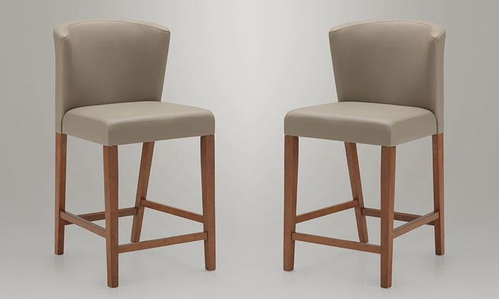 Terrific Olivia Dark Walnut Grey Pub Stool Set 2 Piece Bralicious Painted Fabric Chair Ideas Braliciousco