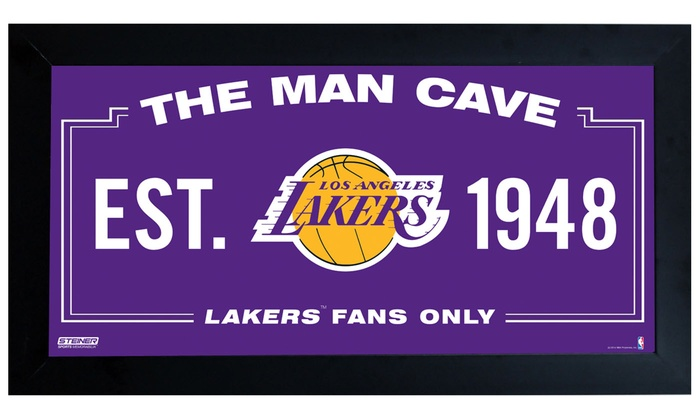 """Los Angeles Lakers Man Cave 6""""x12"""" Framed Sign: Los Angeles Lakers Man Cave 6""""x12"""" Framed Sign"""