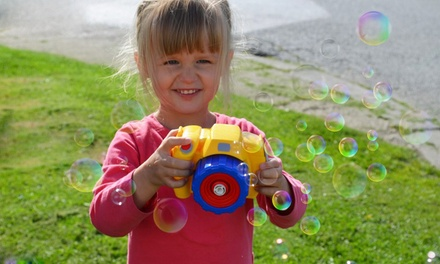 One, Two or Three Kids' Bubble Camera Toys or Six or Twelve Bubble Tubs