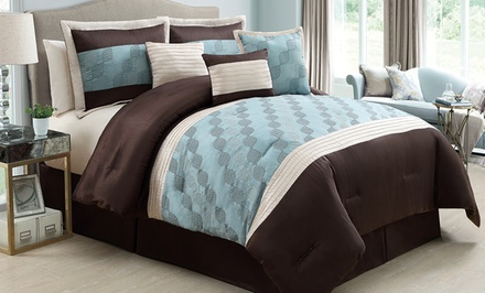 Hyde Park 7-Piece Embroidered Comforter Set with Pintuck Detailing. Multiple Sizes Available. Free Returns.