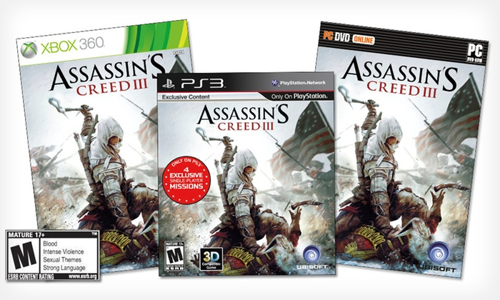 """Assassin's Creed III"": ""Assassin's Creed III"" for PC, PlayStation 3, or Xbox 360 (Up to 42% Off). Free Shipping and Free Returns."