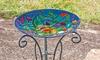 Evergreen Glass Birdbath with Stand: Evergreen Glass Birdbath with Stand
