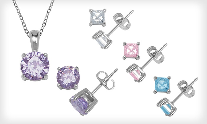 Cubic Zirconia Earrings and Pendants: Cubic Zirconia Earrings or Pendants (Up to 82% Off). Nine Options Available. Free Returns.