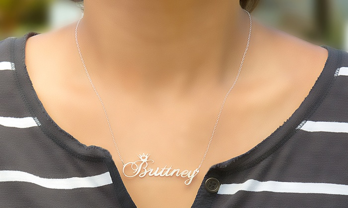 Save 93% on MonogramHub Personalized Name Crown Necklaces