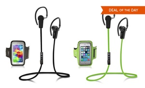 jarv bluetooth earbuds armband groupon goods. Black Bedroom Furniture Sets. Home Design Ideas