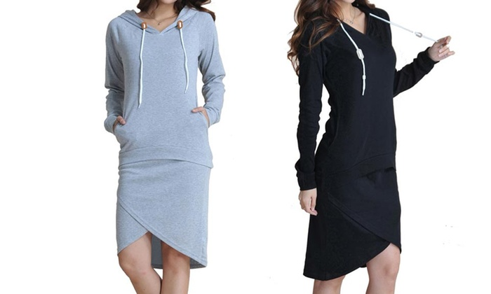 Sweatshirt and Skirt Set: Sweatshirt and Skirt Set in Black or Gray. Free Shipping and Returns.