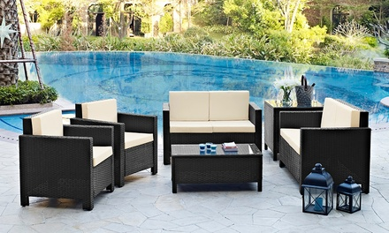 rattan effect corner group garden set