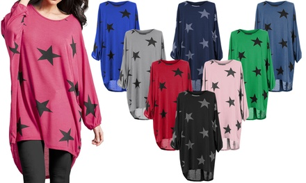 Star Print Oversized Top