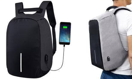 Antidiebstahl-Rucksack mit USB-Anschluss in Schwarz oder Grau