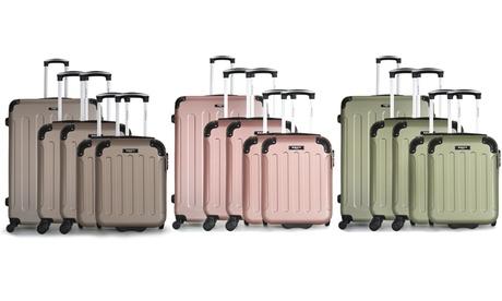 Bluestar großer Reisekoffer, 2 Kabinen-Koffer und 2 Kinder-Kabinen-Koffer Madrid-D in Gold, Khaki od