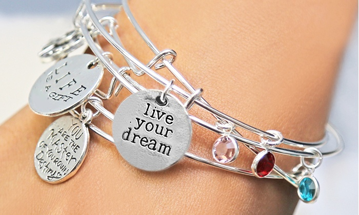 Monogram Online: Inspirational Bangle with Swarovski Birthstone and Optional Charms from Monogram Online (Up to 83% Off)